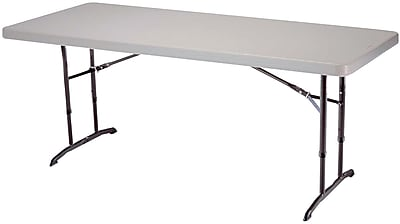 Lifetime 6-Foot Adjustable Height Commercial Folding Table, Almond