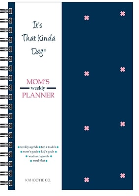 """Kahootie Co™ It's That Kinda Day™- Mom's Weekly Planner, 6"""" x 9"""", Navy (ITKMN)"""