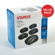 Staples 44900 Wireless Optical Mouse, Black, 5/Pack