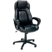 OFM Essentials by OFM Leather High-Back Racing Style Executive Chair, Black, Fixed Arms (ESS-6060)