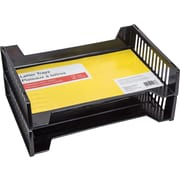 "Letter Tray, 13 5/8"" x 3 5/16"", Black, 2/Pack"