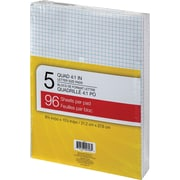 """Writing Pads, 8-3/8"""" x 10-7/8, Quad-Ruled, White, 96 Sheets, 5/Pack"""