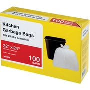 Large Kitchen Garbage Bags, White, 100/Pack