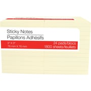 "Stickies Self-Stick Notes, 3"" x 3"", Yellow, 24/Pack"
