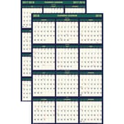 "2017-2018 House of Doolittle Academic Wall Calendar, Four Seasons, Laminated, Blue/Yellow, 24"" x 37"""