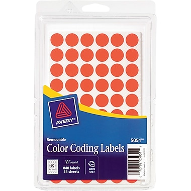Avery 05051 Removable Self-Adhesive Round Paper Color-Coding Label, Neon Red, 1/2