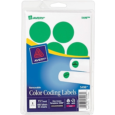 Avery 05498 Print Or Write Removable Color-Coding Label, Neon Green, 1 1/4