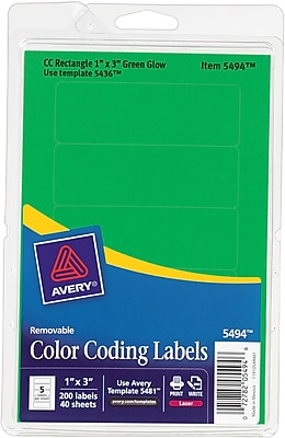Avery ® 05494 Print Or Write Removable Color-Coding Label, Neon Green, 1