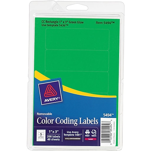 Avery 05494 Print Or Write Removable Color Coding Label Neon