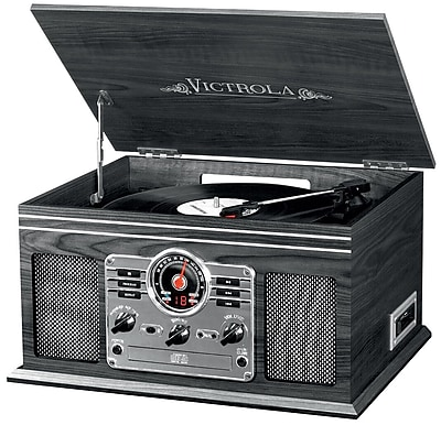 Victrola Wooden 6-in-1 Nostalgic Record Player with Bluetooth and 3 Speed Turntable Graphite