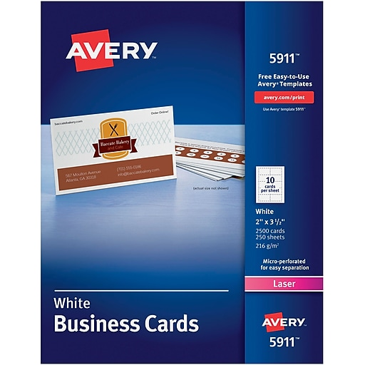 Avery 5911 laser business cards white 2 x 3 12 2500pack httpsstaples 3ps7is reheart Choice Image
