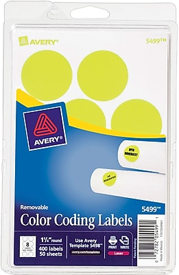 Avery 05499 Print Or Write Removable Color-Coding Label, Neon Yellow, 1 1/4