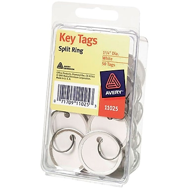 Avery® Metal Rim Tags with Metal Key Ring, White, 1 1/4
