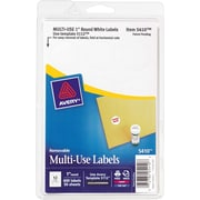 "Avery® 05410 White Printable Removable Self-Adhesive MultiUse ID Label, 1""(Dia), 600/Pack"