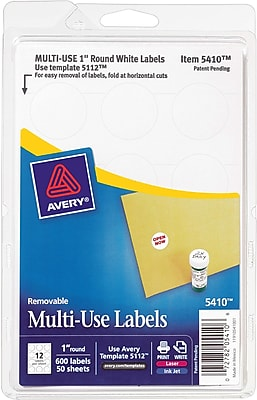 Avery® 05410 White Printable Removable Self-Adhesive MultiUse ID Label, 1