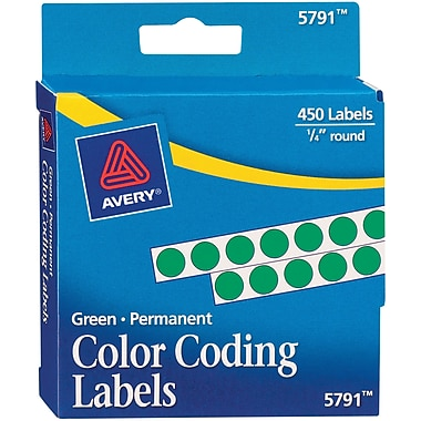 Avery 05791 Permanent Self-Adhesive Round Color-Coding Label, Green, 1/4