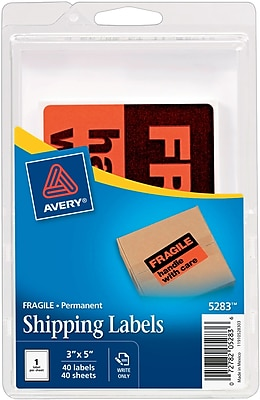 Avery(R) Fragile - Handle with Care Mailing Labels 5283, 3
