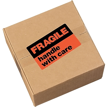 """Avery """"Fragile Handle with Care"""" Shipping Labels, Black/Neon Red, 3""""H x 5""""W, 40/Pk"""