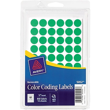 Avery 05052 Removable Self-Adhesive Round Paper Color-Coding Label, Green, 1/2