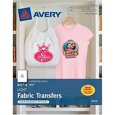 Avery® 3271 Inkjet Light Fabric Transfer Paper, 8-1/2
