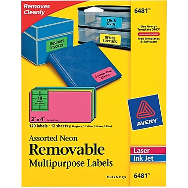 Averyr 6481 removable assorted neon organization labels 2 for Can you print stickers at staples