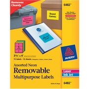 "Avery® 6482 Removable Assorted Neon Organization Labels, 3-1/3"" x 4"", 72/Pack"