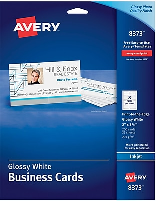 Avery® Inkjet Business Cards, Glossy White, 2