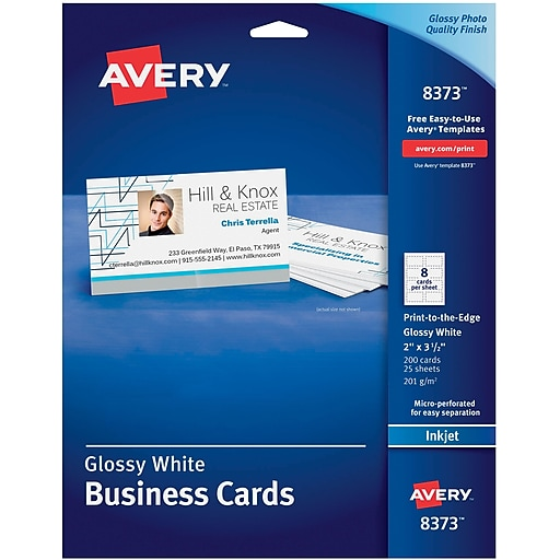 Avery inkjet business cards glossy white 2 x 3 12 200cards httpsstaples 3ps7is reheart Image collections
