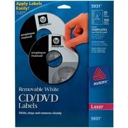 Avery Removable Laser CD/DVD Labels, 50 Disk/100 Spine Labels, White (5931)