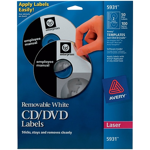 Avery Removable Laser Cddvd Labels 50 Disk100 Spine Labels White