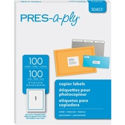 "PRES-a-ply 8.5"" x 11"" Copier Labels, White, 100/Pack (30403)"