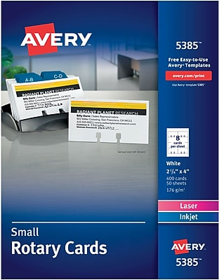 Avery Laser Rotary Cards, White, 02-1/6