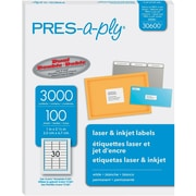 """PRES-a-ply 1"""" x 2.63"""" Laser Address Labels, White, 100/Pack (30600)"""