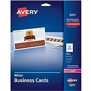 """Avery Laser Business Cards, 2"""" x 3.5"""", White, 250/Pack (05371)"""