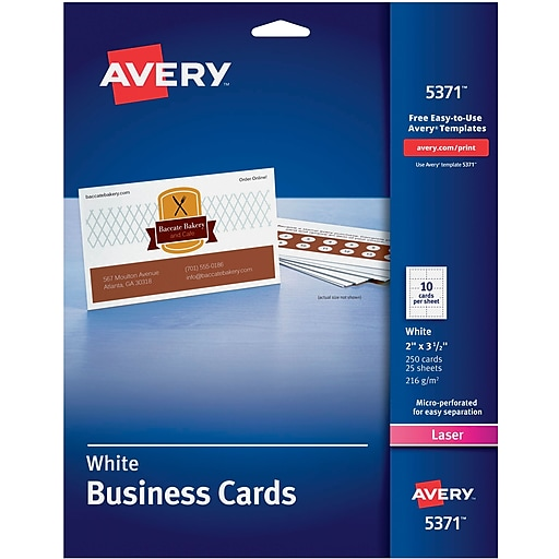 Avery laser business cards white 2 x 3 12 250cards staples httpsstaples 3ps7is reheart Image collections