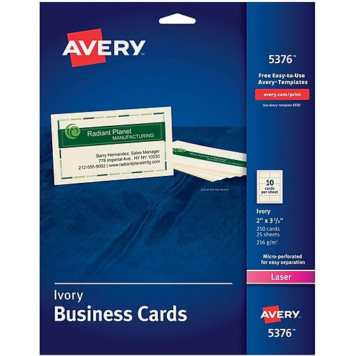 Avery laser business cards ivory 2 x 3 12 250cards staples httpsstaples 3ps7is colourmoves