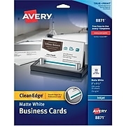 """Avery® Clean Edge® Printable Inkjet Business Cards, 2"""" x 3.5"""", Matte White, 200/Pack (8871)"""