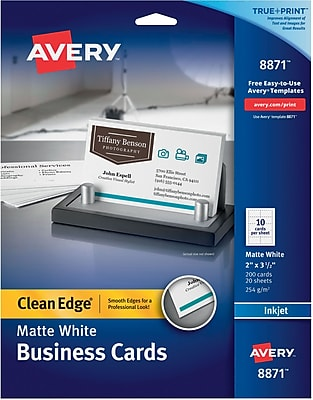 Avery® Clean Edge® Printable Inkjet Business Cards, 5.5