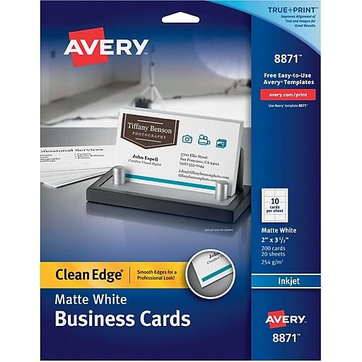 Avery Clean Edge Printable Inkjet Business Cards 2 X 3 5 Matte White 200 Pack 8871 Staples