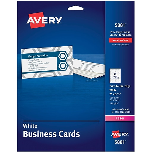 Avery print to the edge color laser business cards staples httpsstaples 3ps7is reheart Image collections