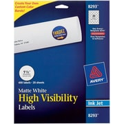 "Avery ® 8293 White Print To The Edge Mailing Label, 1 1/2""(Dia), 400/Pack"