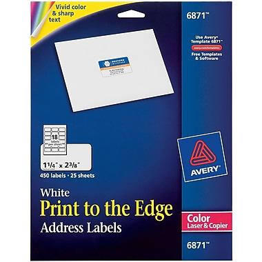 AveryR 6871 Color Printing Matte White Laser Address Labels 1 4