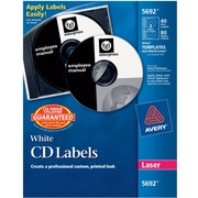 Avery 5692 Permanent Laser CD/DVD Labels, 40 Disk/80 Spine Labels, White by