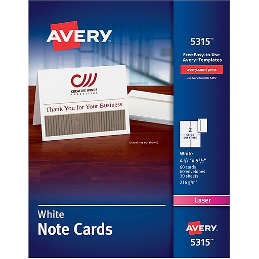 Avery Laser Notecards White Uncoated 60 Pack Staples