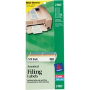 "Avery 2180 Mini-Sheets™ White Laser File Folder Labels, 2/3"" X 3 7/16"""