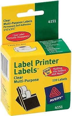 """Avery 3.5"""" x 1.12"""" Thermal Multi-Purpose Labels, Clear, 1/Pack (4151)"""