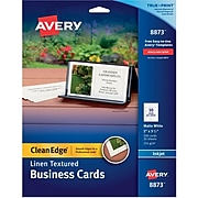 """Avery® Clean Edge® Printable Linen-Textured Business Card, 2"""" x 3.5"""", White, 200/Pack (08873)"""