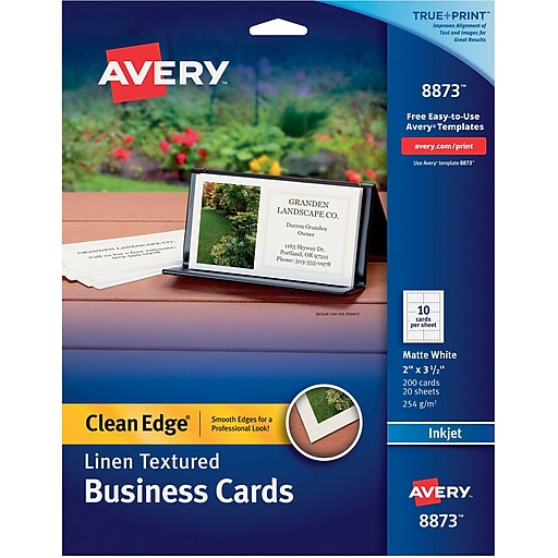 Avery clean edge 08873 linen textured two side printable business httpsstaples 3ps7is reheart Image collections