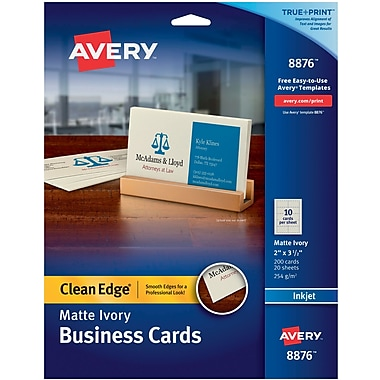 Avery® Clean Edge Inkjet Business Cards, Ivory, 2