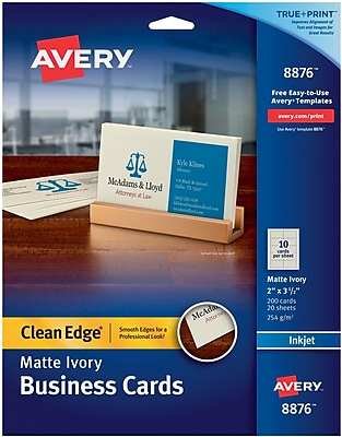 Avery®, Clean Edge Inkjet Business Cards, Ivory, 2